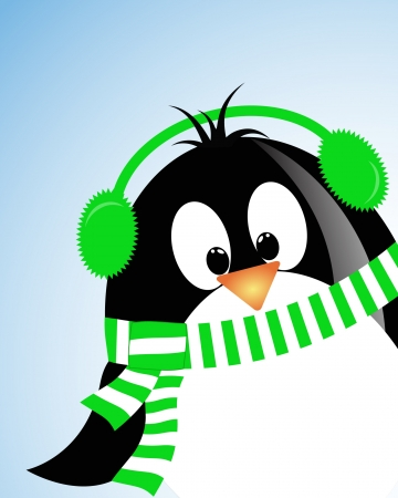 vector blue sky background with penguin Vector
