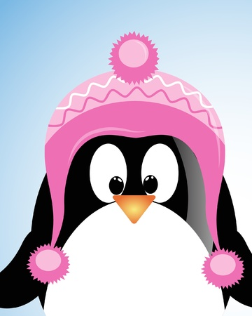 birthday boy: vector blue sky background with penguin