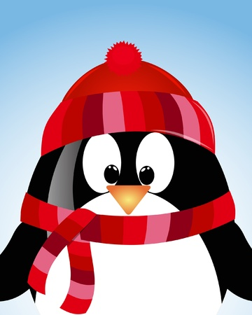 tally: vector blue sky background with penguin