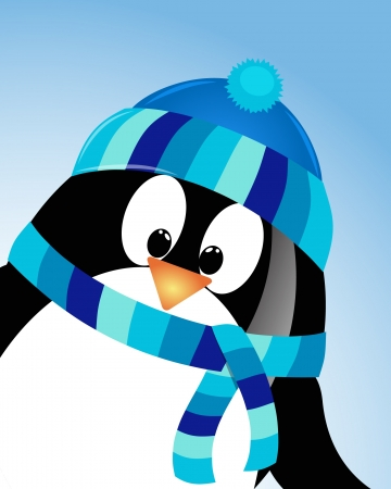 girls with bows: vector blue sky background with penguin