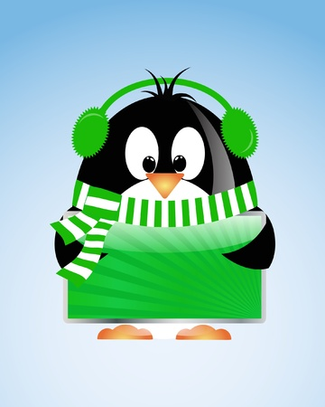 vector Christmas background with pinguin Vector