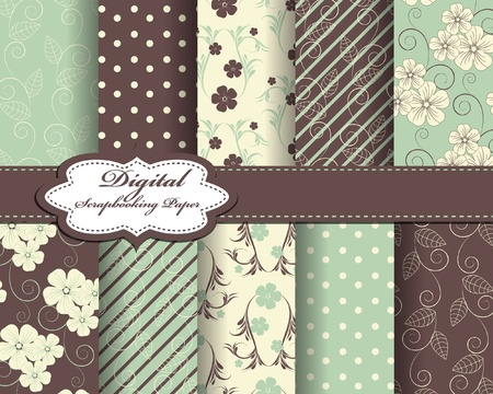 set of flower vector paper for scrapbook Stock Vector - 12077049