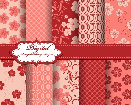 compendium: set of flower vector paper for scrapbook