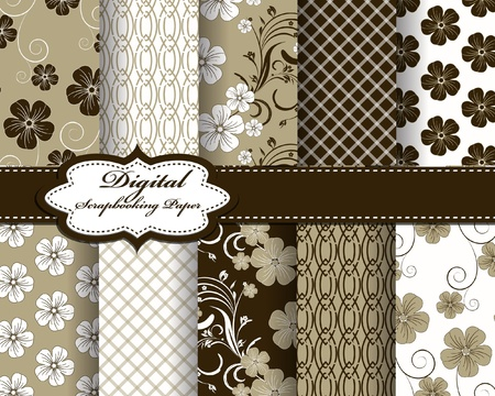 set of flower vector paper for scrapbook Vector