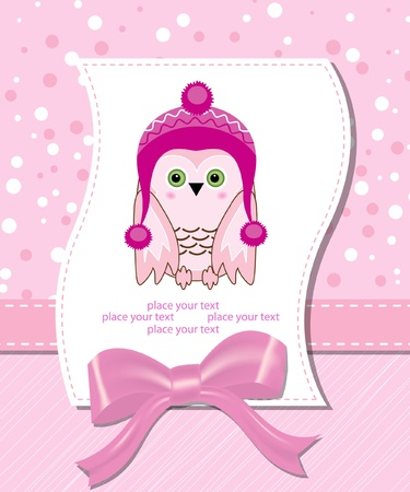 vector flower scrapbook background with owl Vector