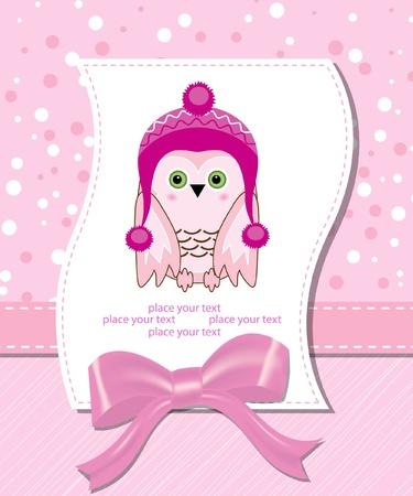 vector flower scrapbook background with owl Vector