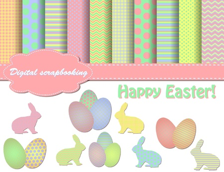 slhouette: set of Easter vector paper and clip art for scrapbook