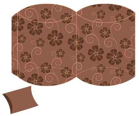 stylized pillow flower gift box template Vector