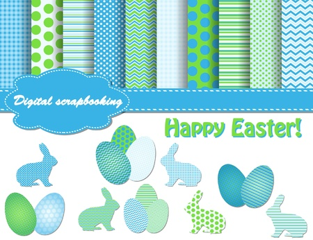 set of Easter vector paper and clip art for scrapbook Vector