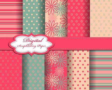 postal card: set of flower vector paper for scrapbook