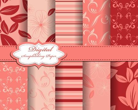 set of flower vector paper for scrapbook Stock Vector - 12923239