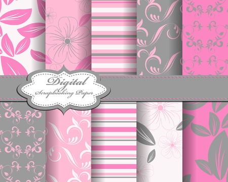 set: set of flower vector paper for scrapbook