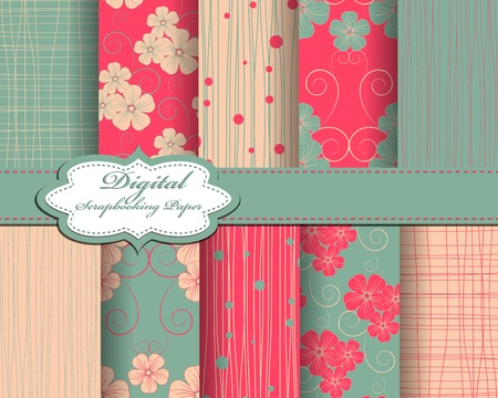 decoratively: set of flower vector paper for scrapbook