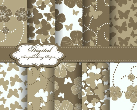 set of flower and butterfly vector paper for scrapbook Vector