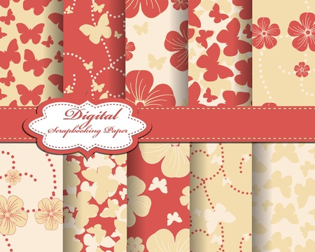 set of flower and butterfly paper for scrapbook Stock Vector - 13008038