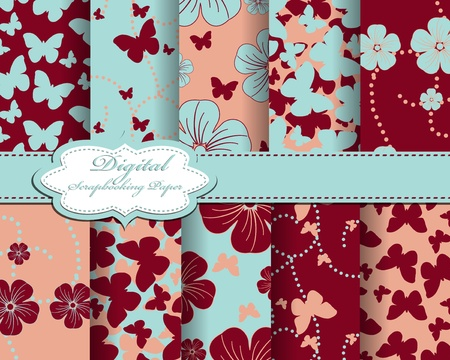 set of flower and butterfly paper for scrapbook Stock Vector - 13008040