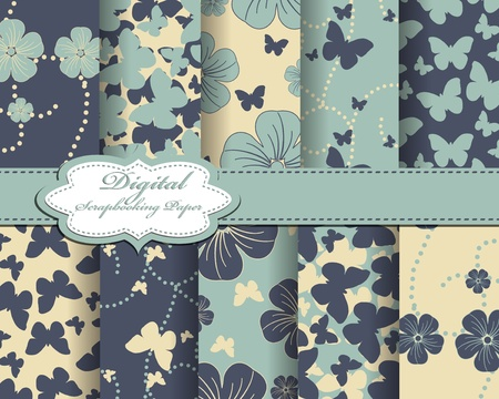 set of flower and butterfly paper for scrapbook Vector
