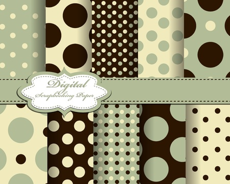 set of polka dot paper for scrapbook Vector