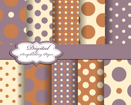 set of polka dot vector paper for scrapbook Vector