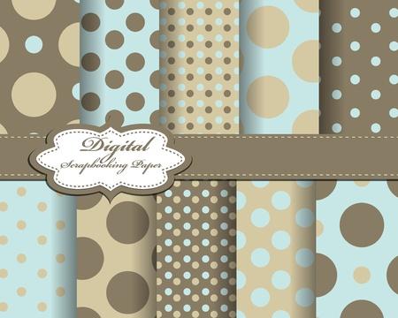 compendium: set of polka dot paper for scrapbook Illustration