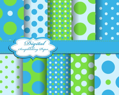 set of polka dot paper for scrapbook Ilustrace