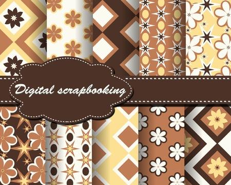 set of vector flower paper for scrapbook Stock Vector - 13471115