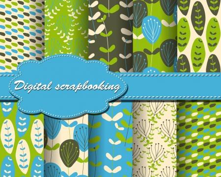 set of flower paper for scrapbook Stock Vector - 13805356