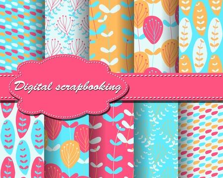 set of vector flower paper for scrapbook Stock Vector - 13805350