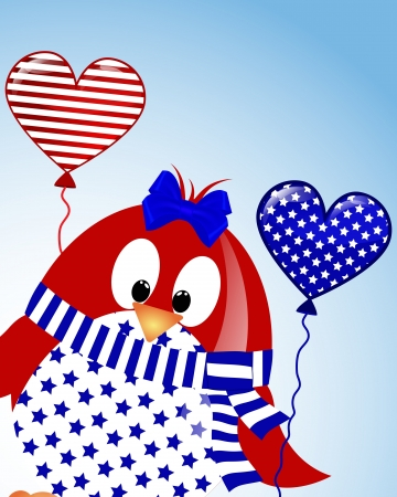 vector blue sky background with penguin fourth of July Vector