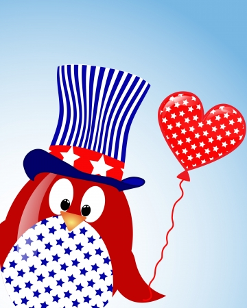 vector blue sky background with penguin fourth of July