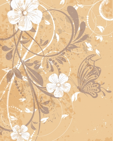 Retro wedding invitation, floral decorative abstract background, butterfly Vector