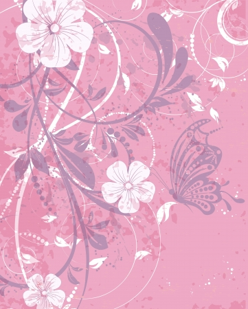 Retro vector wedding invitation, floral decorative abstract background, butterfly Vector