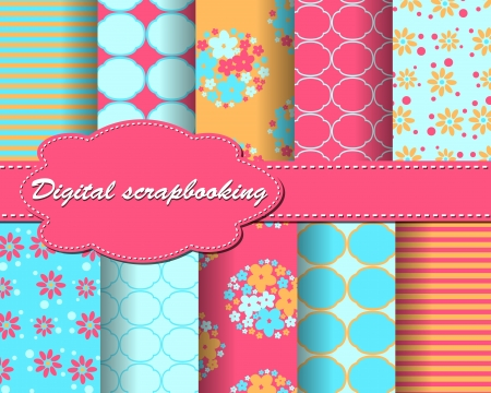 set of flower paper for scrapbook Ilustrace
