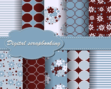 set of flower paper for scrapbook Stock Vector - 13996631