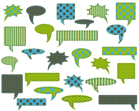 Set of talk, speech and thought bubbles and stars, design elements for scrapbook Vector