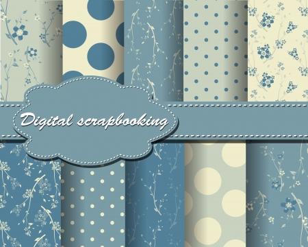 polka dot: set of flower and polka dot paper for scrapbook