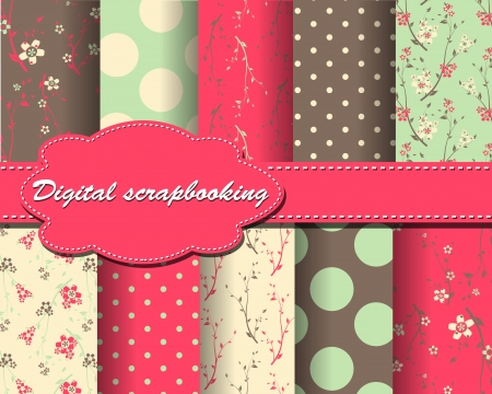 set of flower and polka dot paper for scrapbook Vector