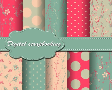 set of flower and polka dot paper for scrapbook Stock Vector - 14409477