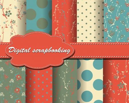 set of flower and polka dot paper for scrapbook Vector