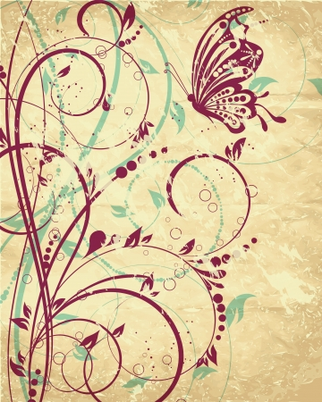 flower background with butterfly Stock Vector - 14491591