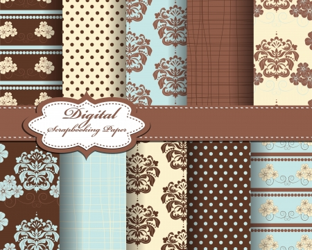 set of damask flower paper for scrapbook Ilustrace