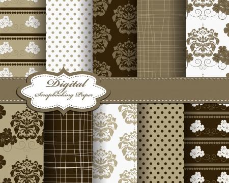 scrapbook paper: set of damask flower paper for scrapbook Illustration