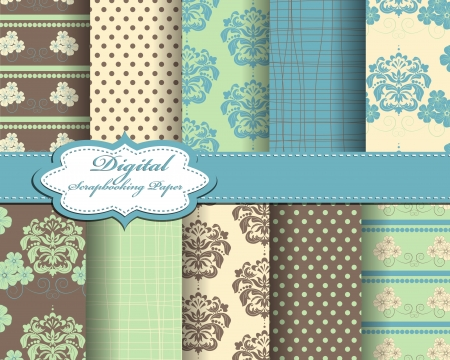 set of damask flower paper for scrapbook Vector