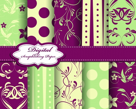 set of flower paper for scrapbook Vector