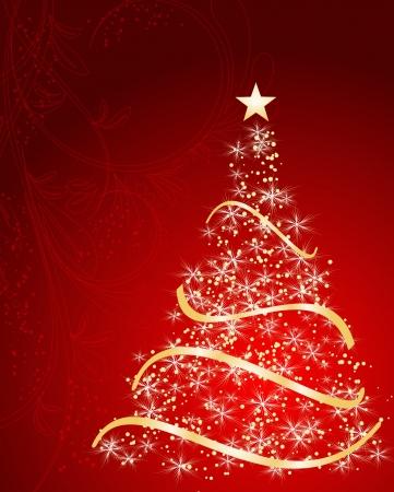merrily: stilizzato albero di Natale su sfondo decorativo floreale Vettoriali
