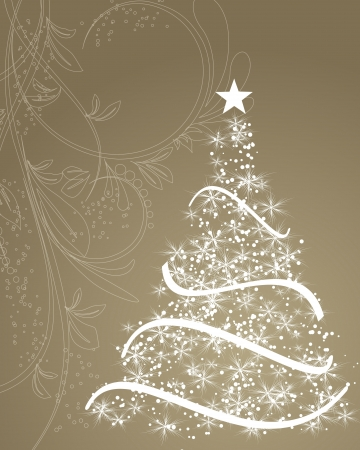 stylized Christmas tree on decorative floral background