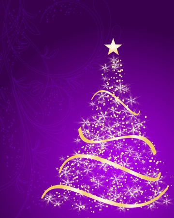 merrily: stylized Christmas tree on decorative floral background