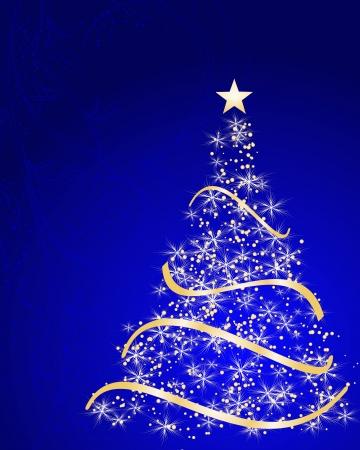 feliz: stilizzato albero di Natale su sfondo decorativo floreale Vettoriali