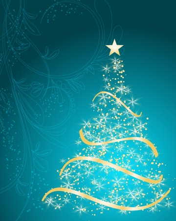 beautifully: stylized Christmas tree on decorative floral background