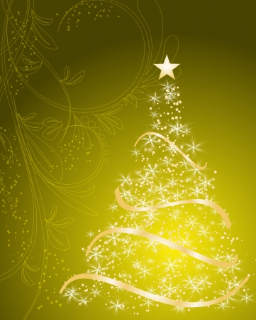 stylized Christmas tree on decorative floral background
